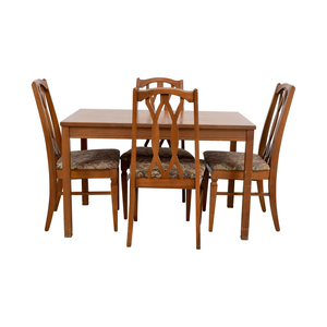 Wood Kitchen Table and Floral Upholstered Chairs nj