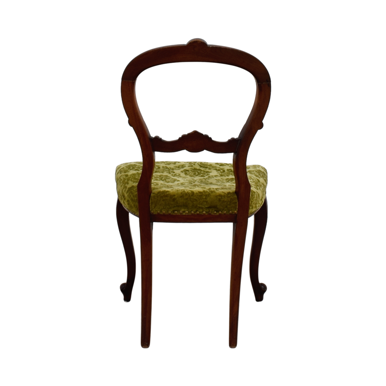Antique Green Velvet Wood Chair for sale