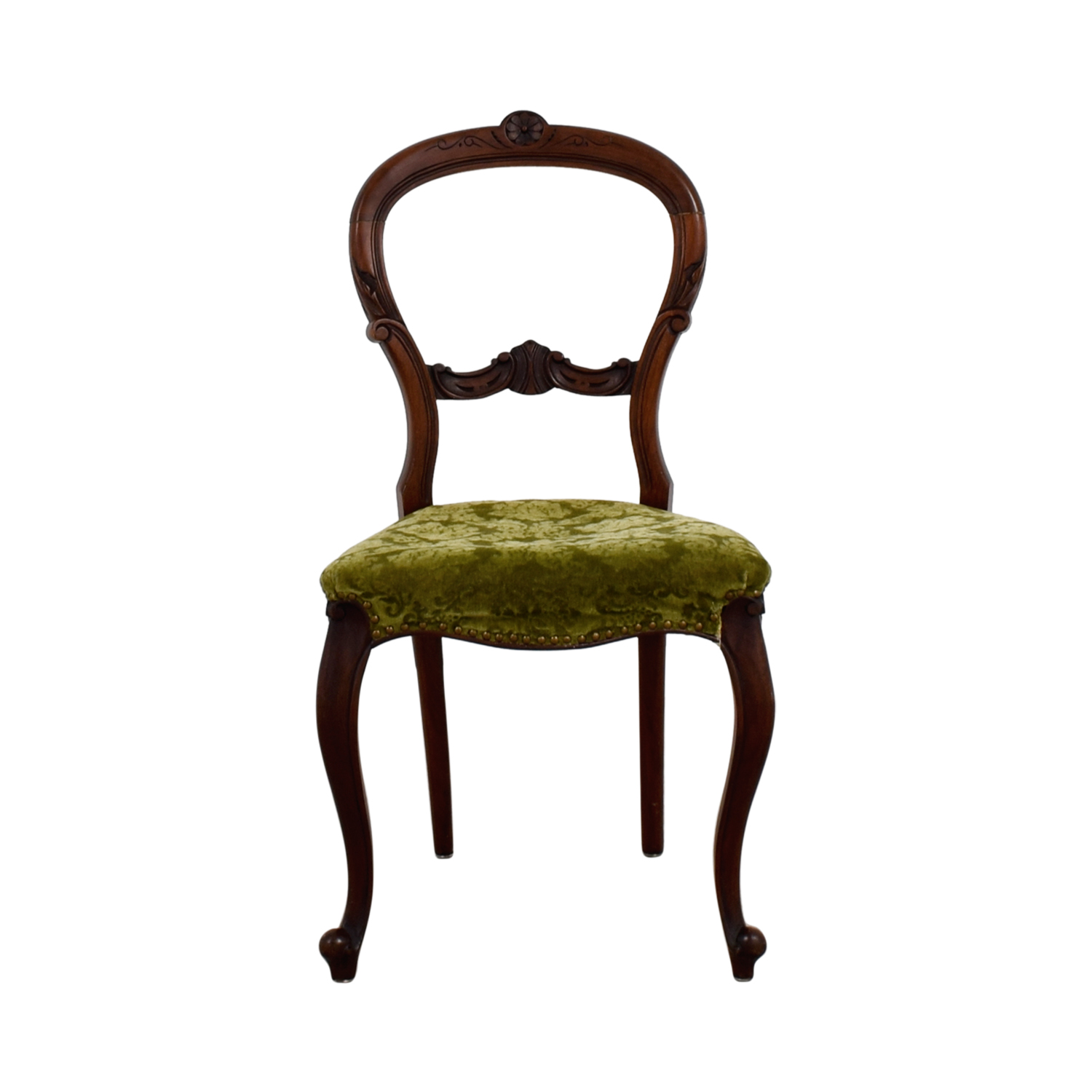 shop Antique Green Velvet Wood Chair online