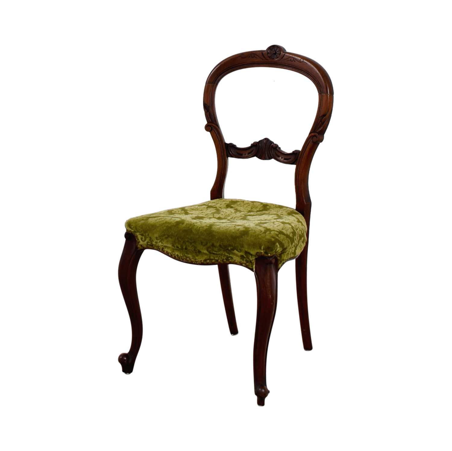 90 off antique green velvet wood chair chairs. Black Bedroom Furniture Sets. Home Design Ideas