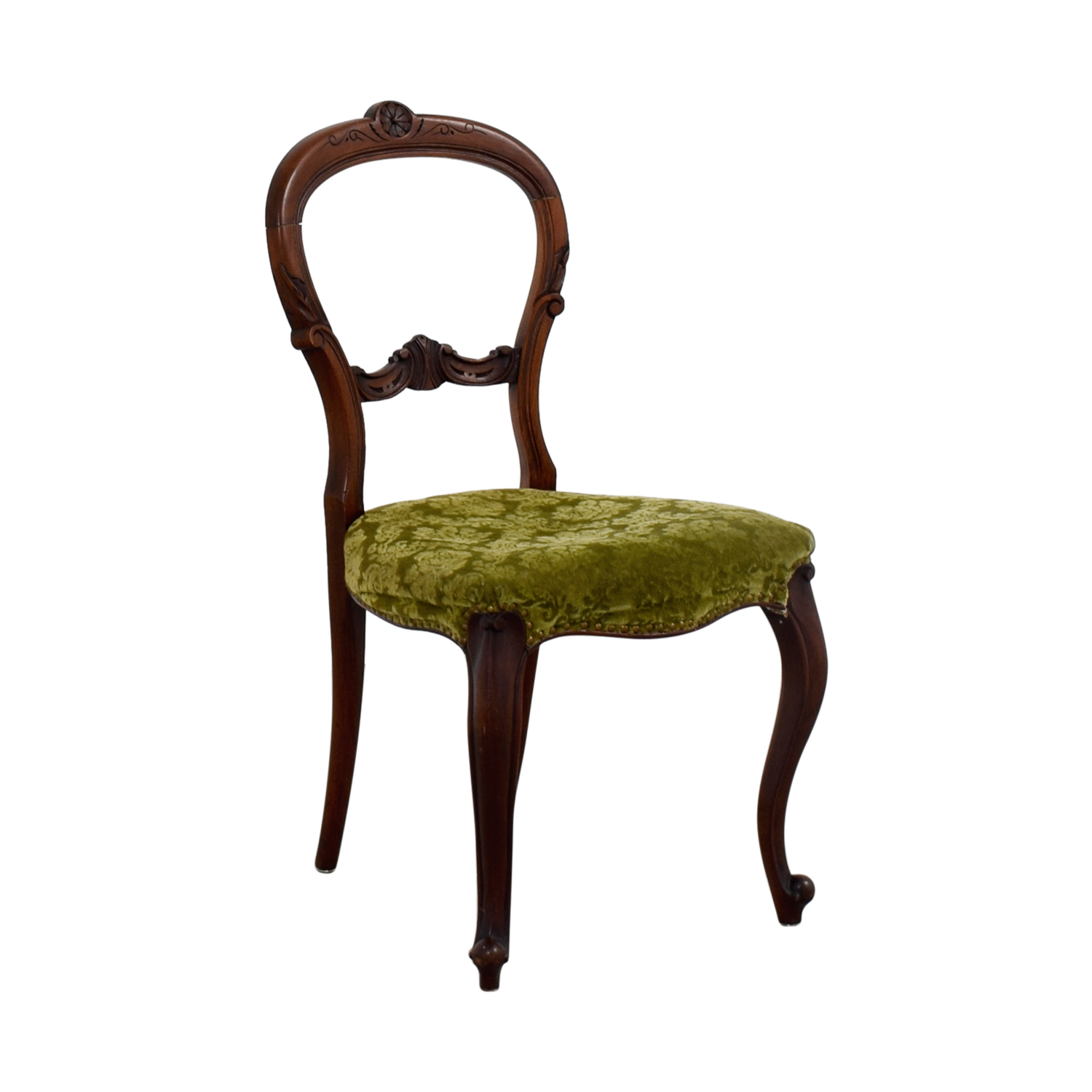 90 Off Antique Green Velvet Wood Chair Chairs