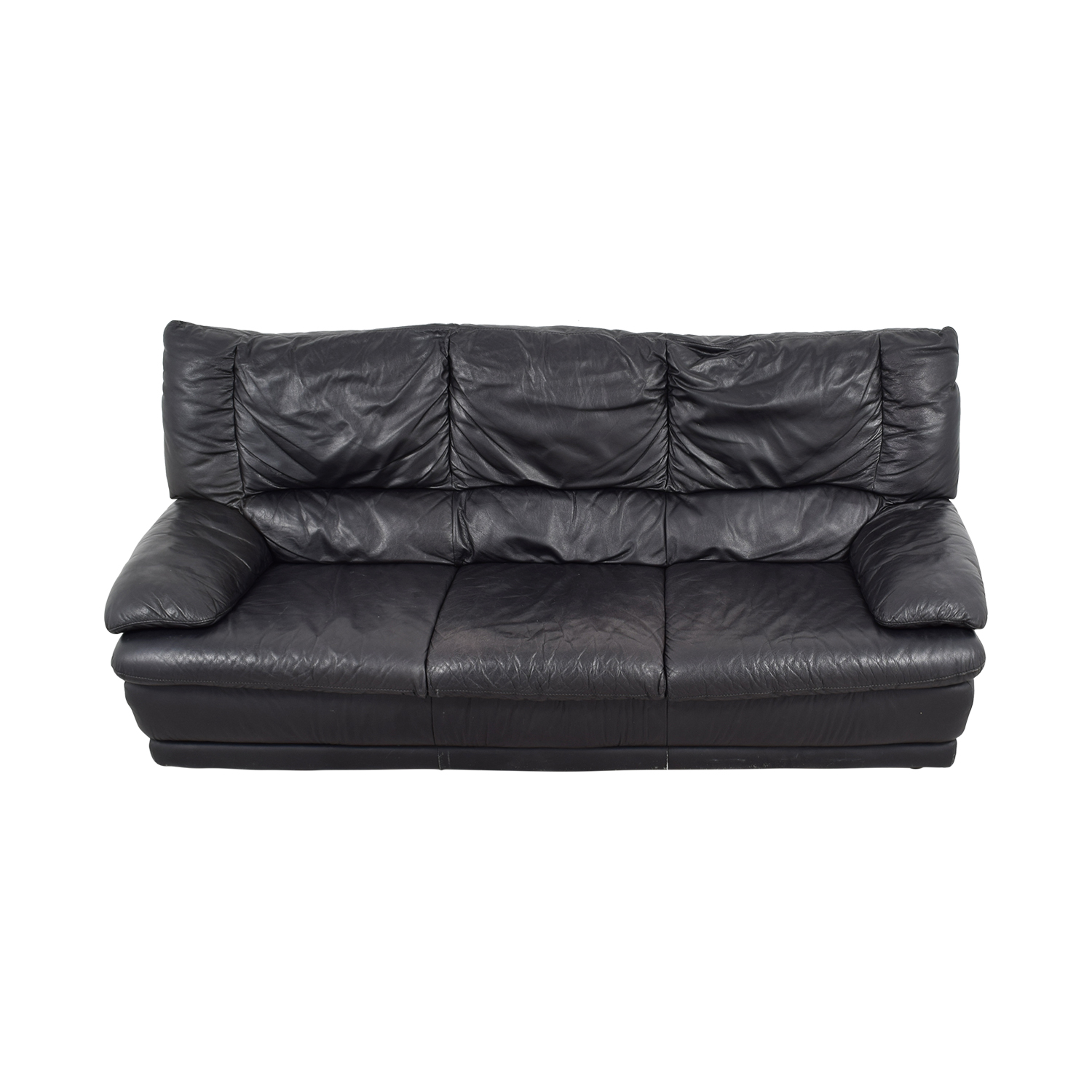 57% OFF - IKEA IKEA Black Leather Sofa / Sofas
