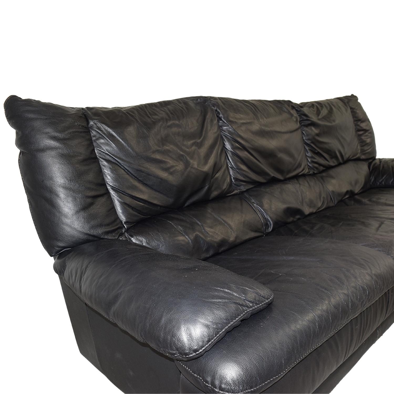57% OFF - IKEA IKEA Black Leather Sofa / Sofas