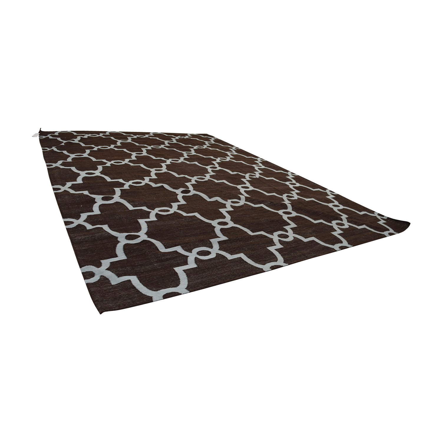 Obeetee Obeetee Brown Dhurrie Hand Knotted Wool Rug nj