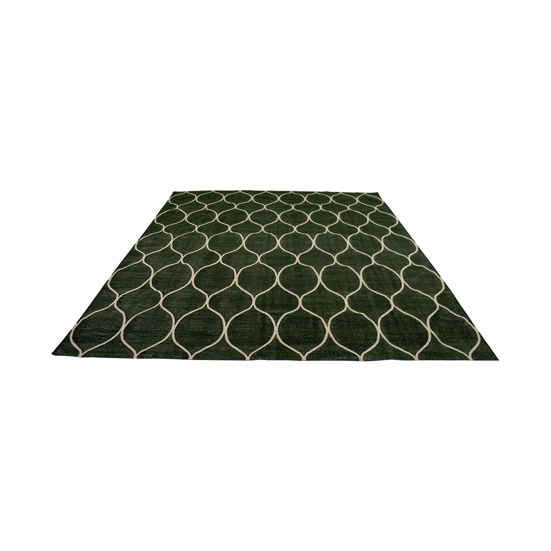 Obeetee Obeetee Green Dhurrie Wool Rug for sale