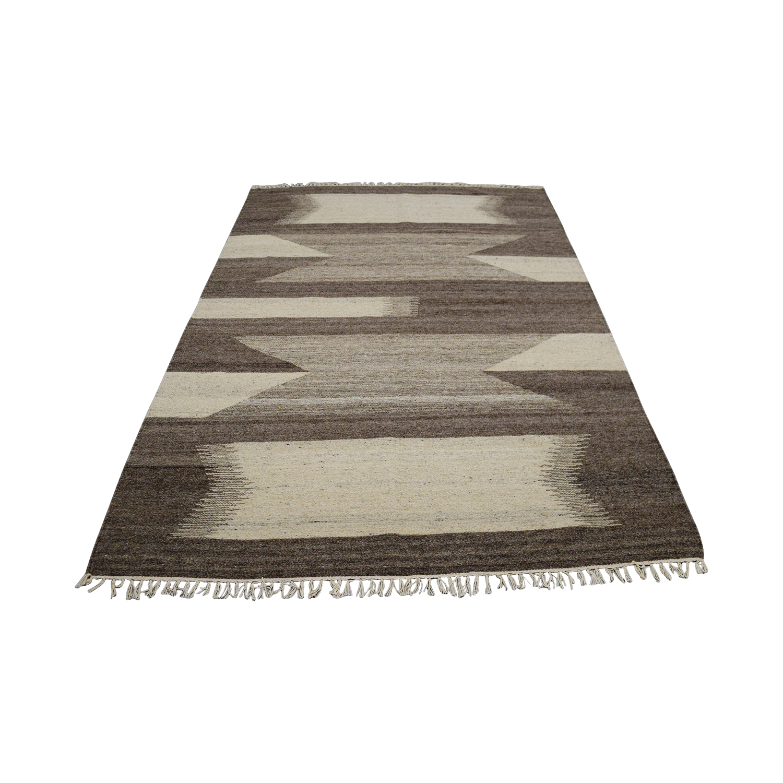 Obeetee Beige Dhurrie Wool Rug / Rugs