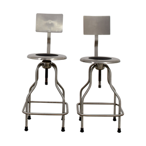 67 Off Design Within Reach Steel Precision Stools With Back Rest Chairs