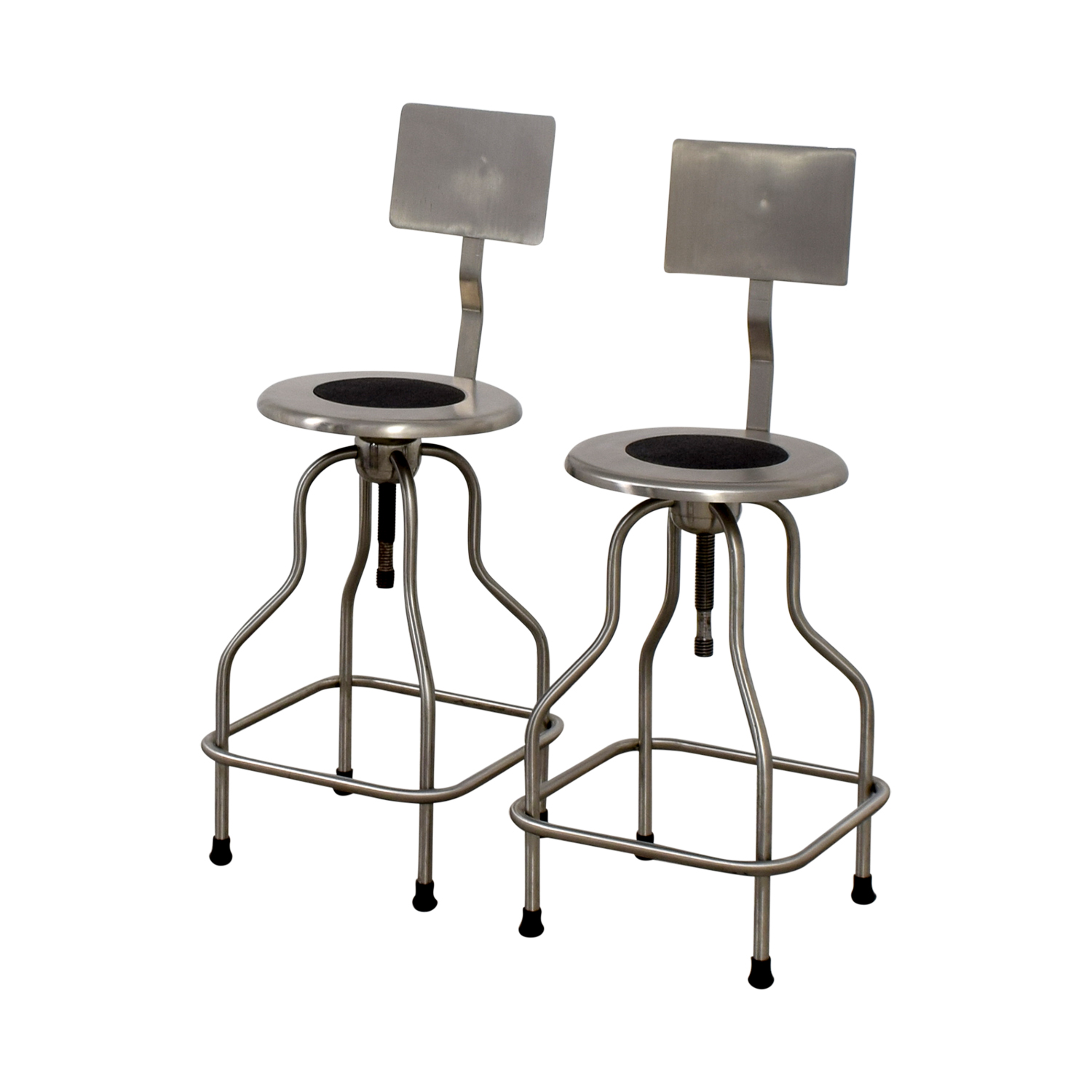 67 off design within reach design within reach steel precision stools with back rest chairs. Black Bedroom Furniture Sets. Home Design Ideas