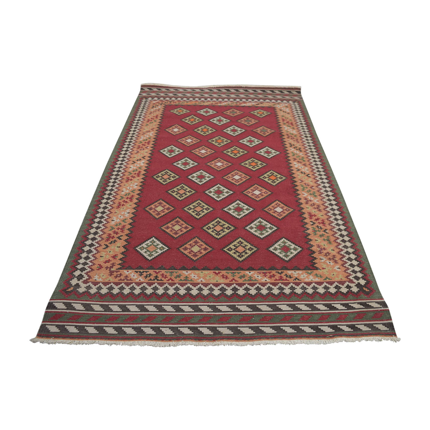Obeetee Obeetee Red Dhurrie Polyester Rug
