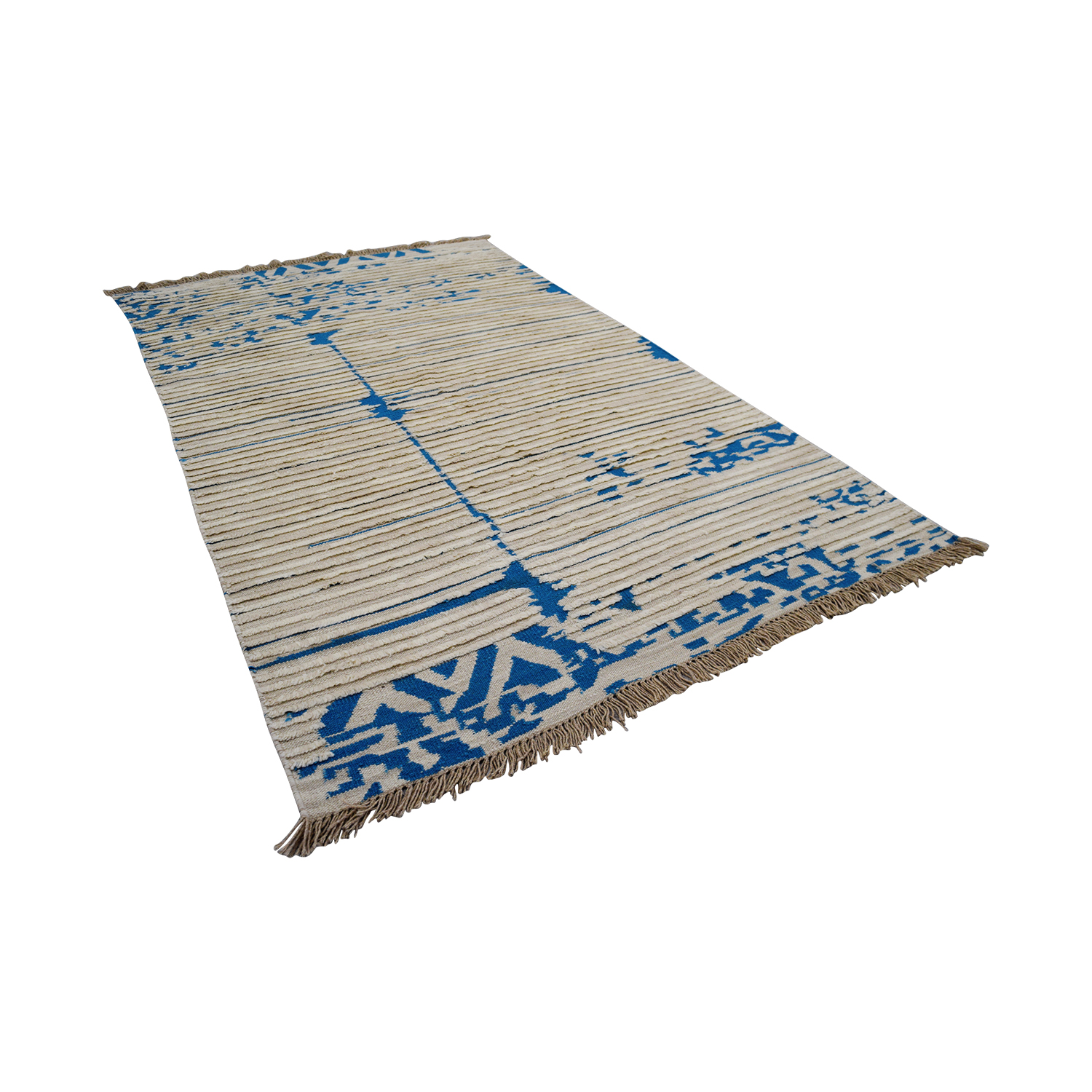Obeetee Obeetee Blue and White Flat Weave Rugs
