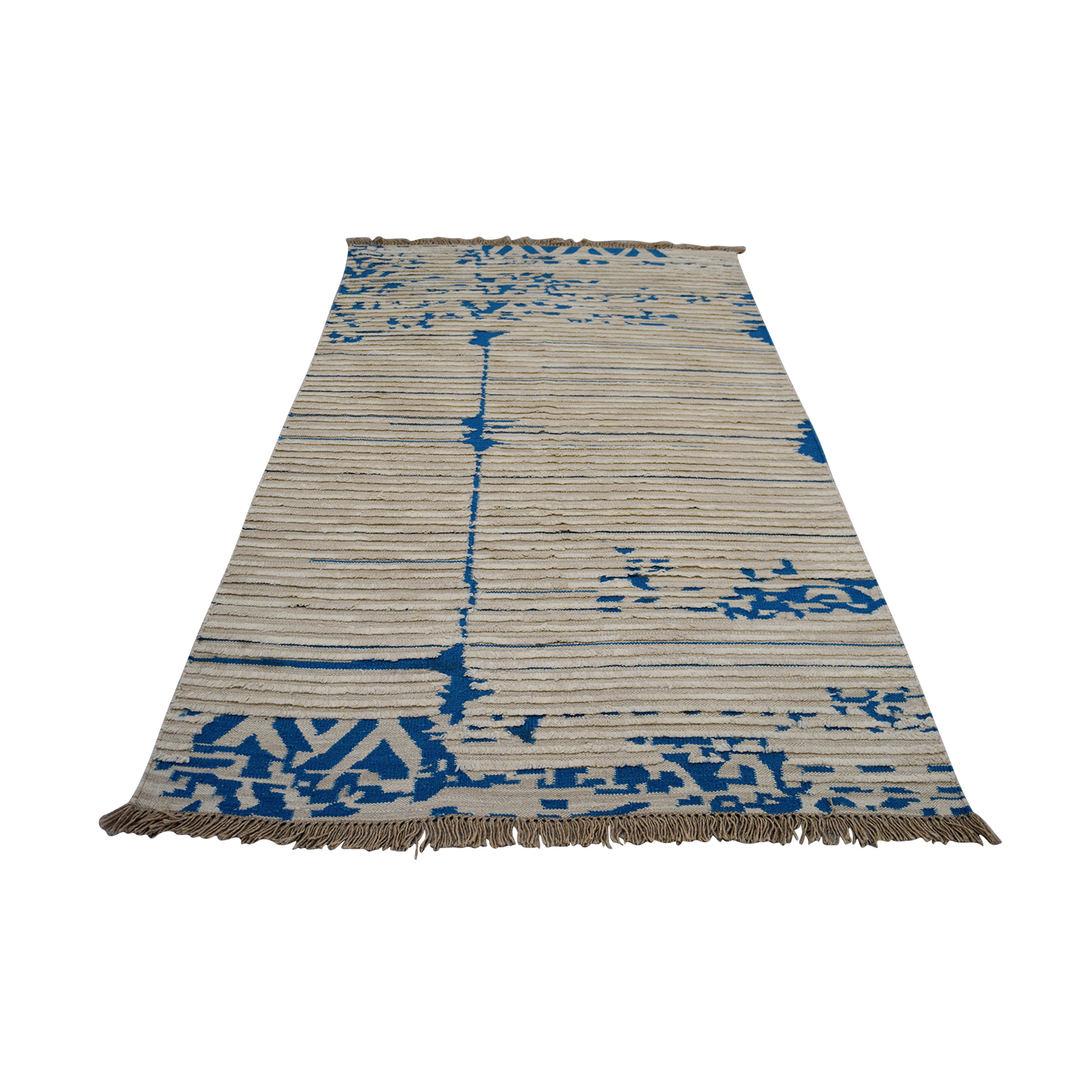 buy Obeetee Obeetee Blue and White Flat Weave online