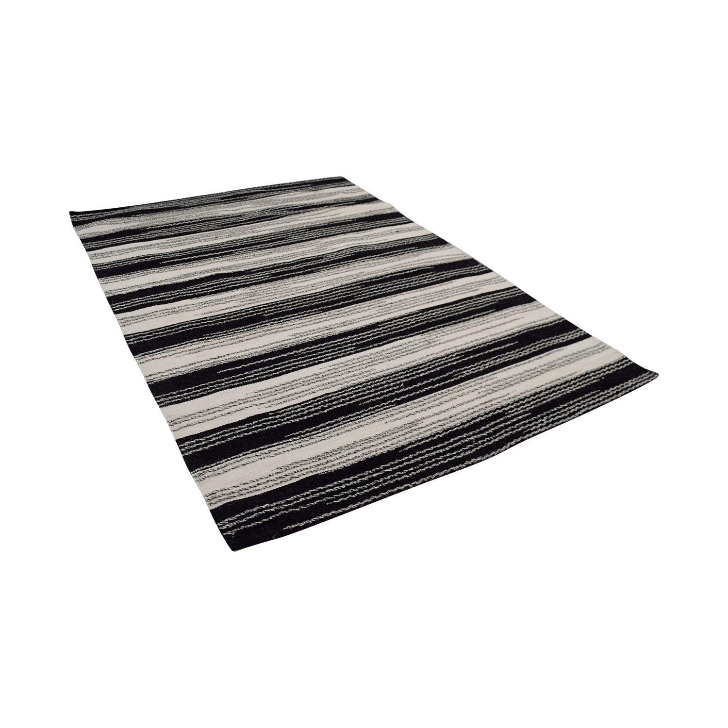 Obeetee Obeetee Black and White Striped Weave Rug discount