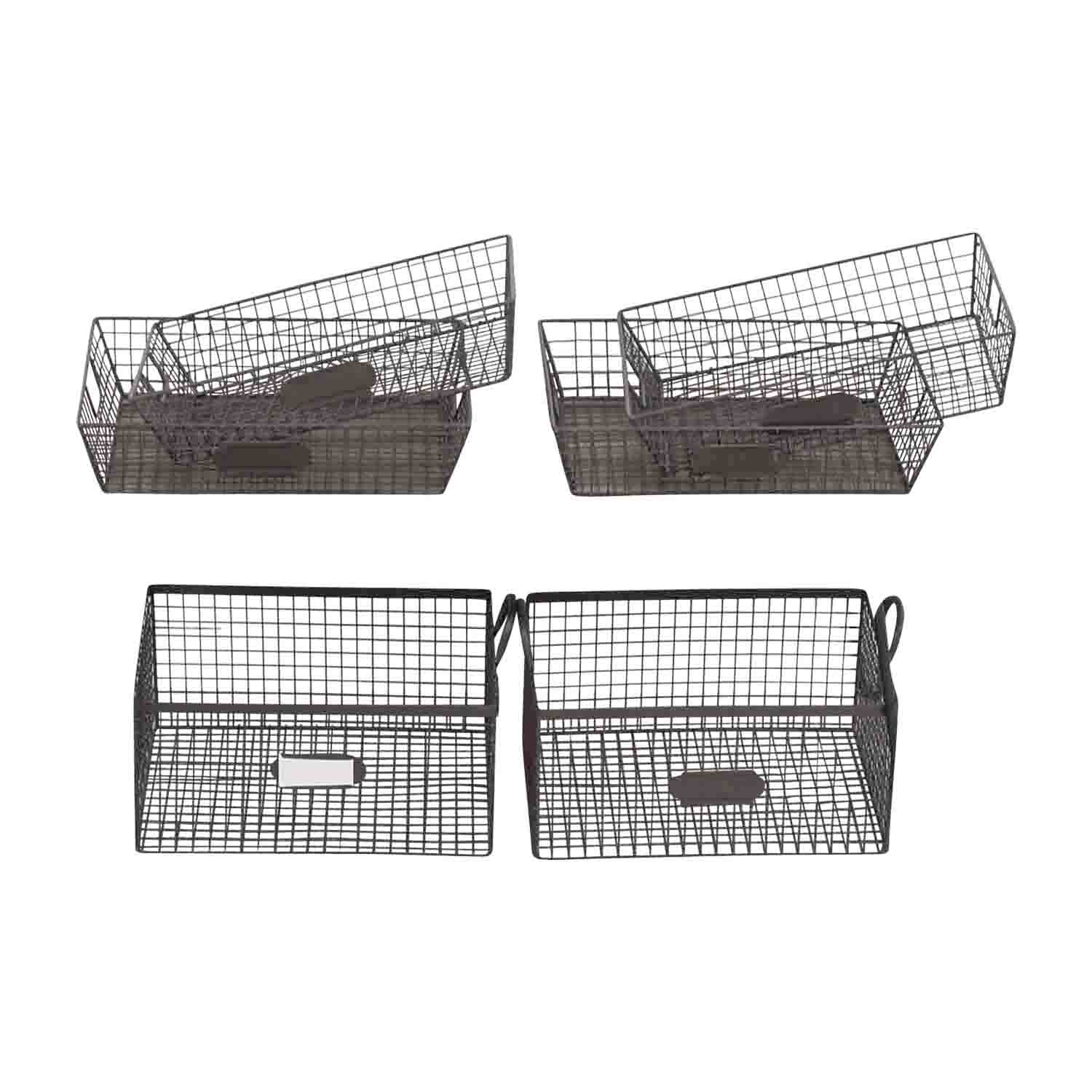 buy Set of Metal Office Baskets Decorative Accents