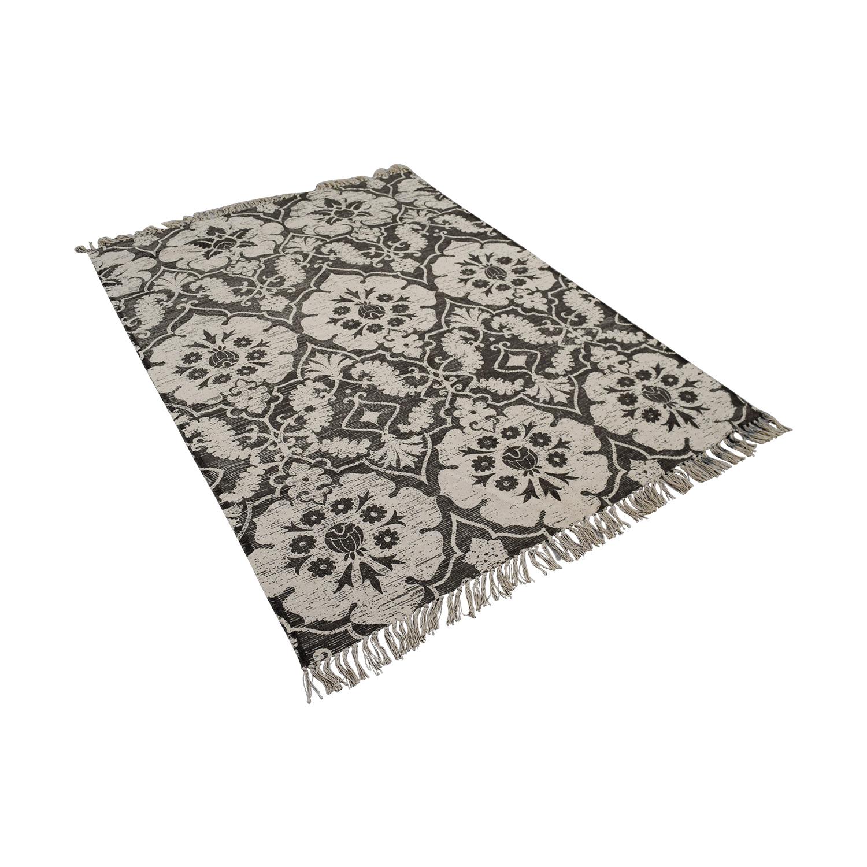 buy Obeetee Grey Floral Rug Obeetee