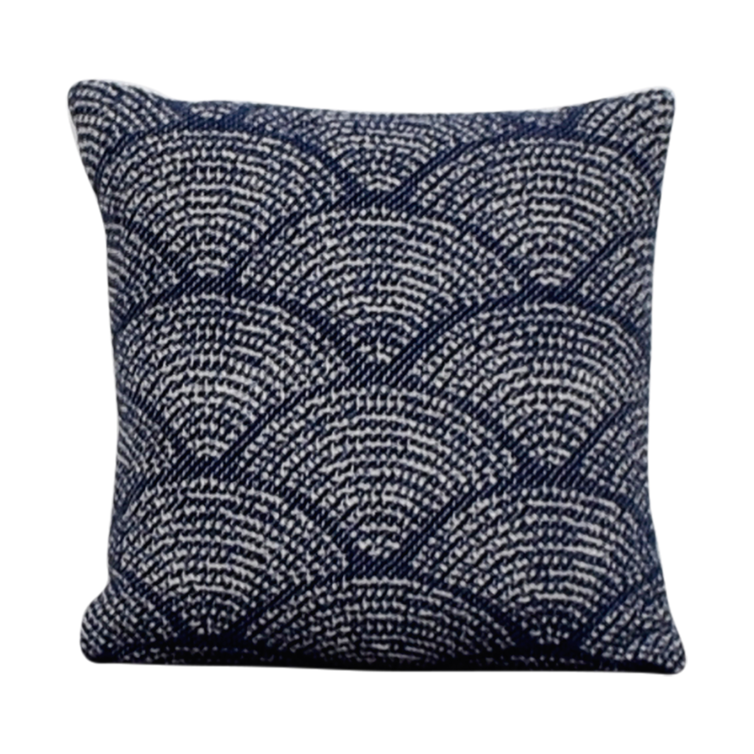 Obeetee Navy and White Scalloped Toss Pillow / Decor