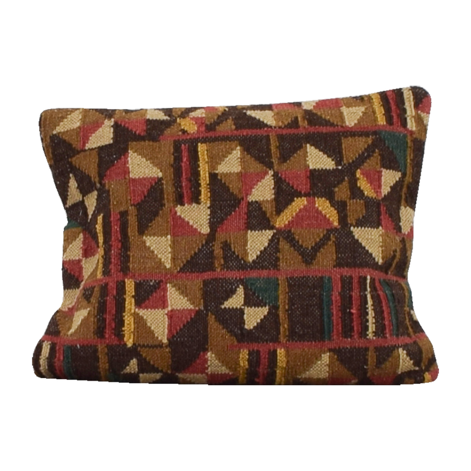 buy Obeetee Brown Red and Beige Textual Toss Pillow Obeetee Decor