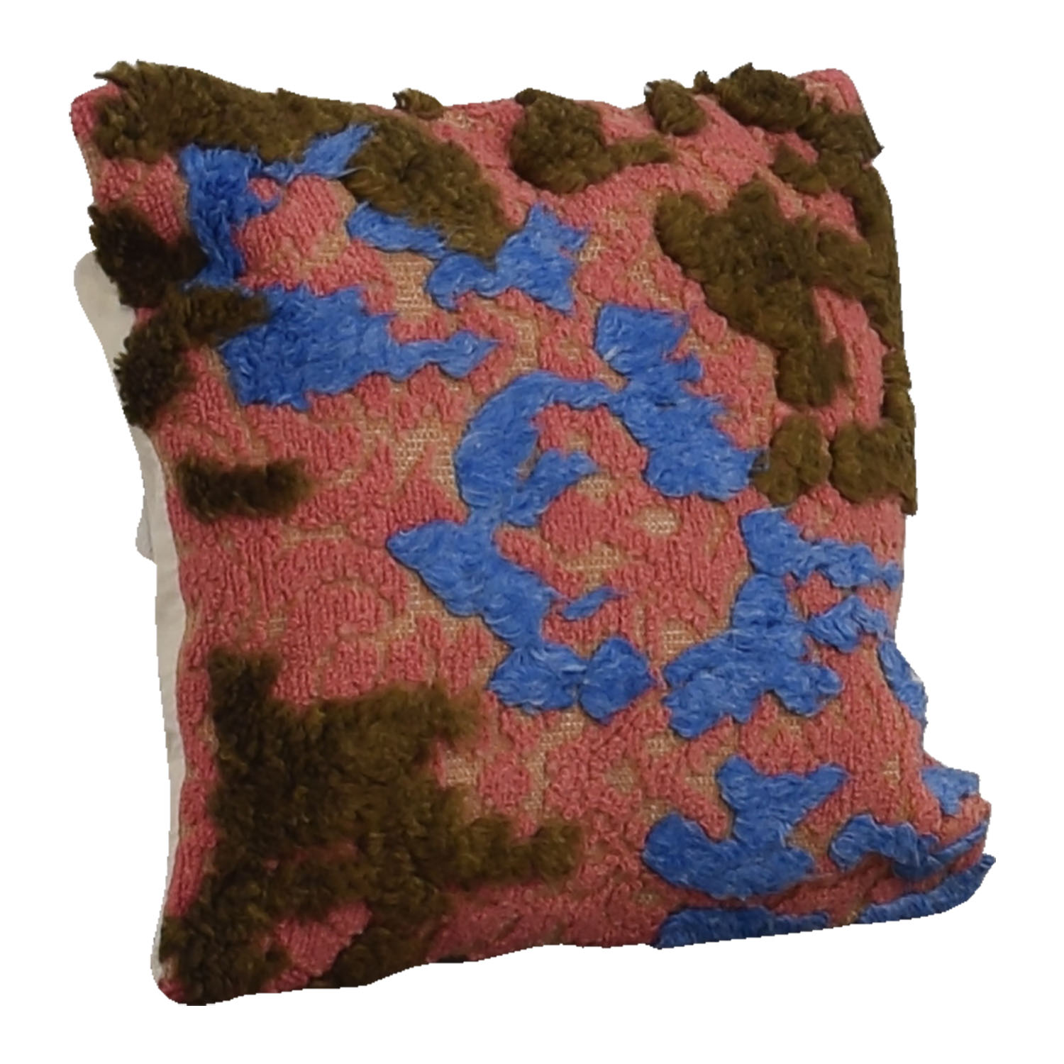 Pink Blue and Brown Wool Raised Pile Toss Pillow for sale