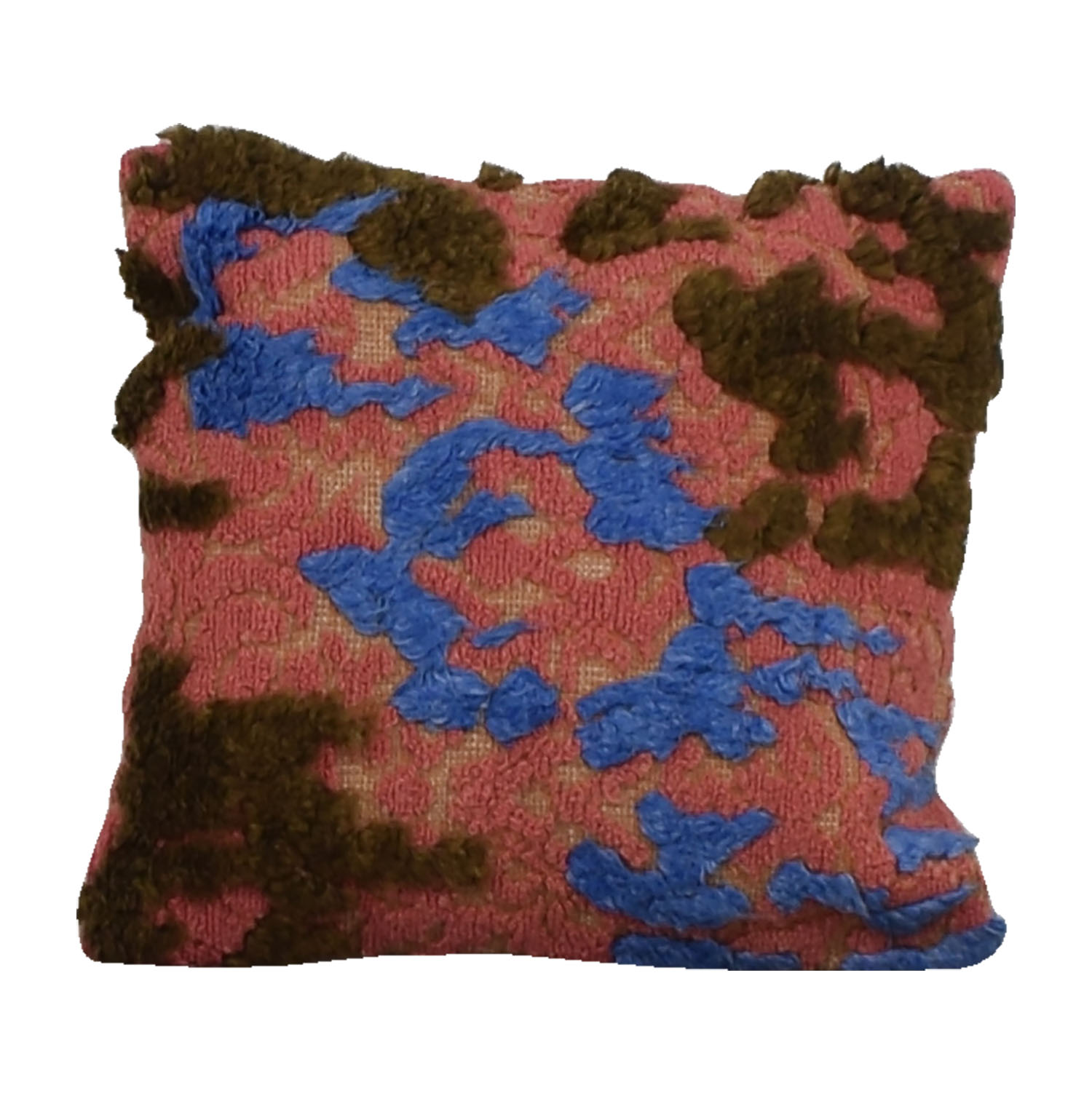 buy Pink Blue and Brown Wool Raised Pile Toss Pillow Decorative Accents