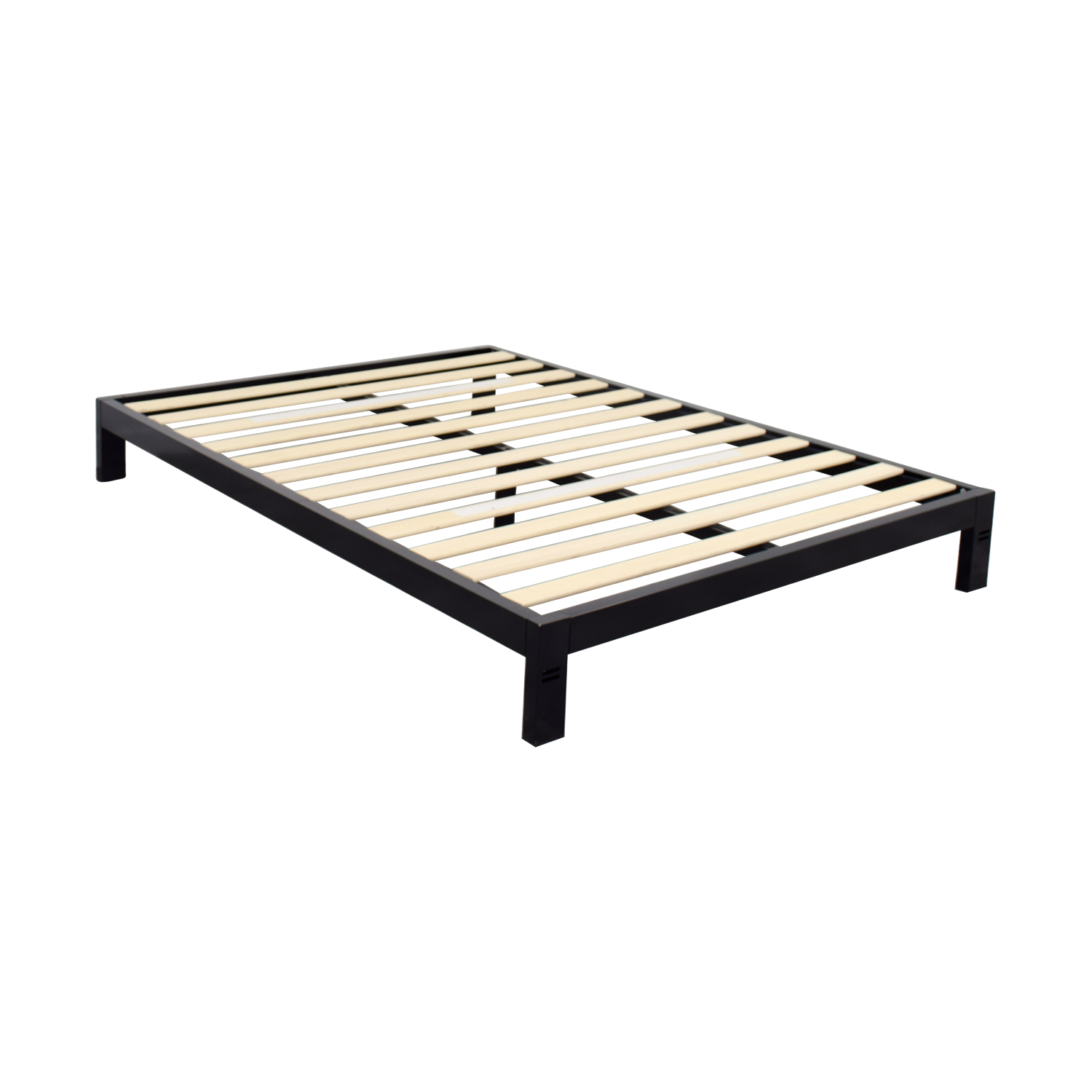 86 off black metal queen platform bed frame beds for Queen bed frame