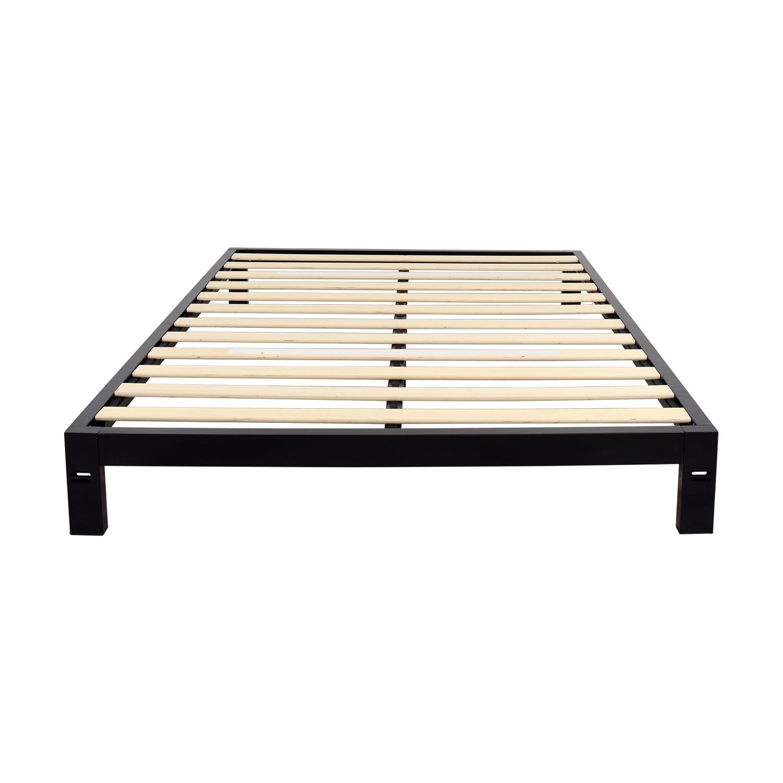 shop Black Metal Queen Platform Bed Frame