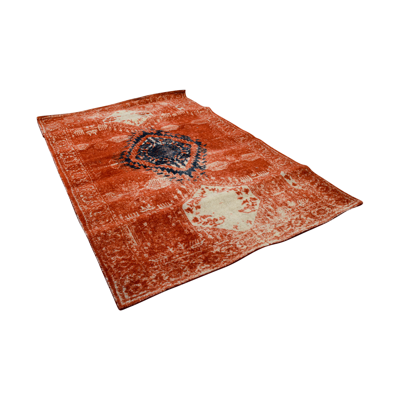 shop Obeetee 5 X 8 Distressed Burnt Orange Wool Rug Obeetee Rugs