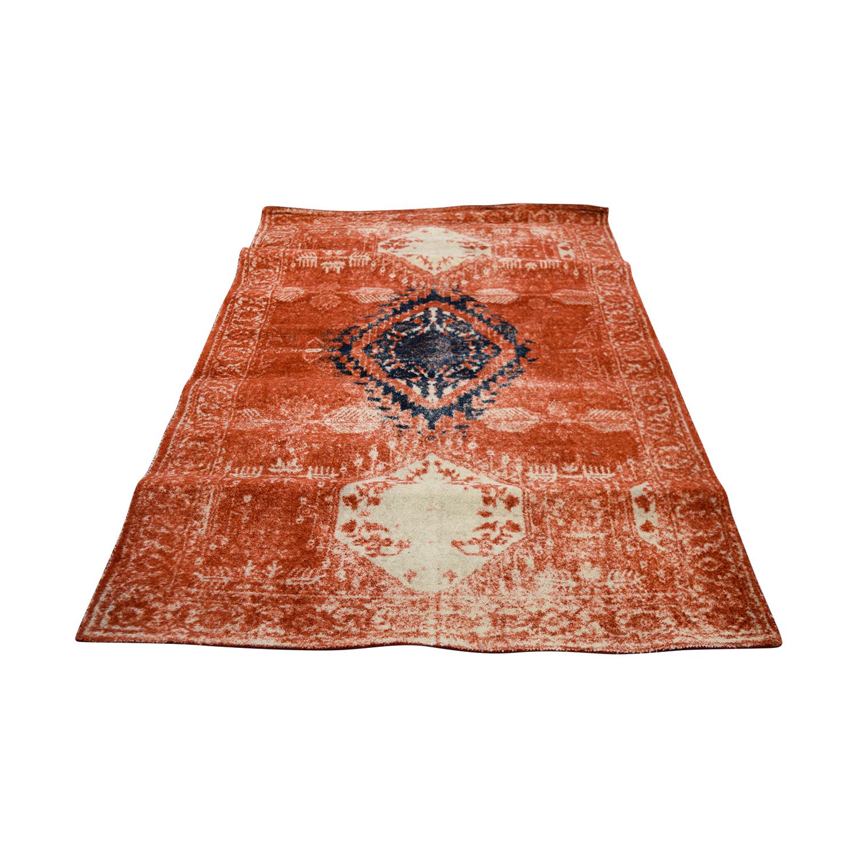 buy Obeetee 5 X 8 Distressed Burnt Orange Wool Rug Obeetee
