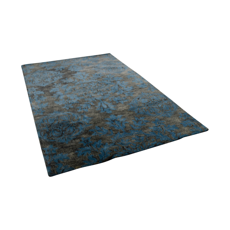 Obeetee 5 X 8 Blue Raise Floral Rug / Decor