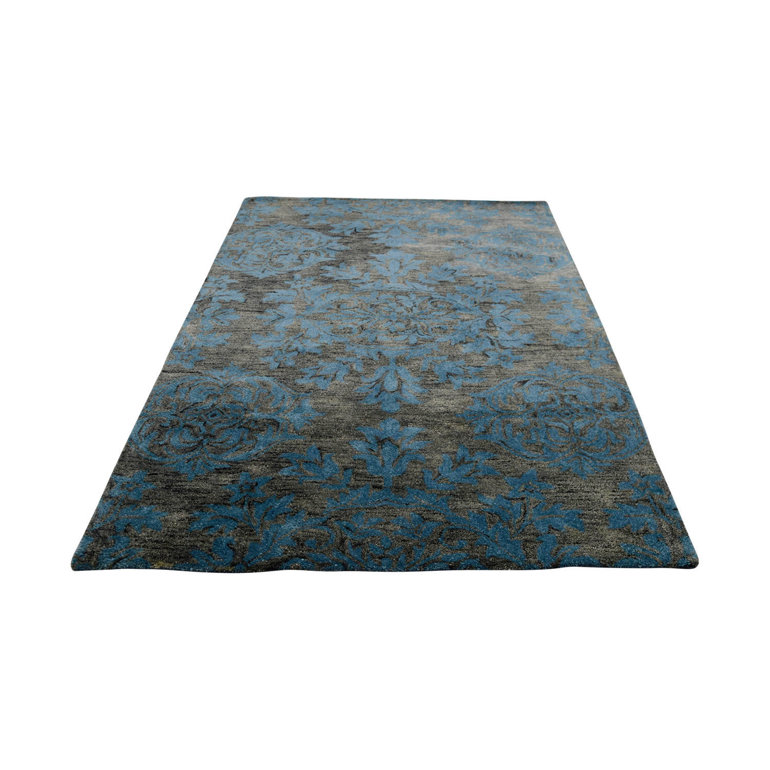 Obeetee Obeetee 5 X 8 Blue Raise Floral Rug second hand