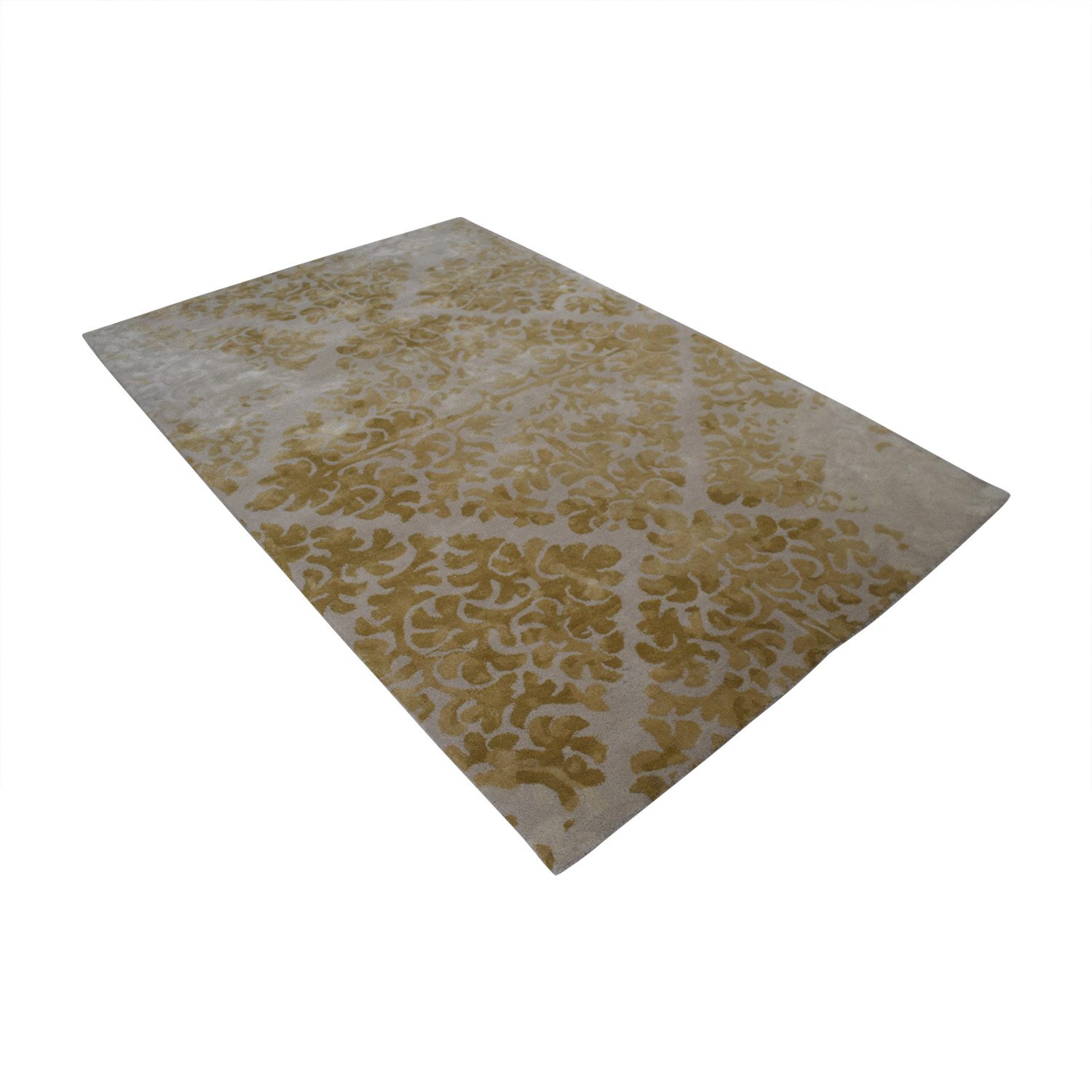 buy Obeetee Yellow Floral Wool Rug Obeetee