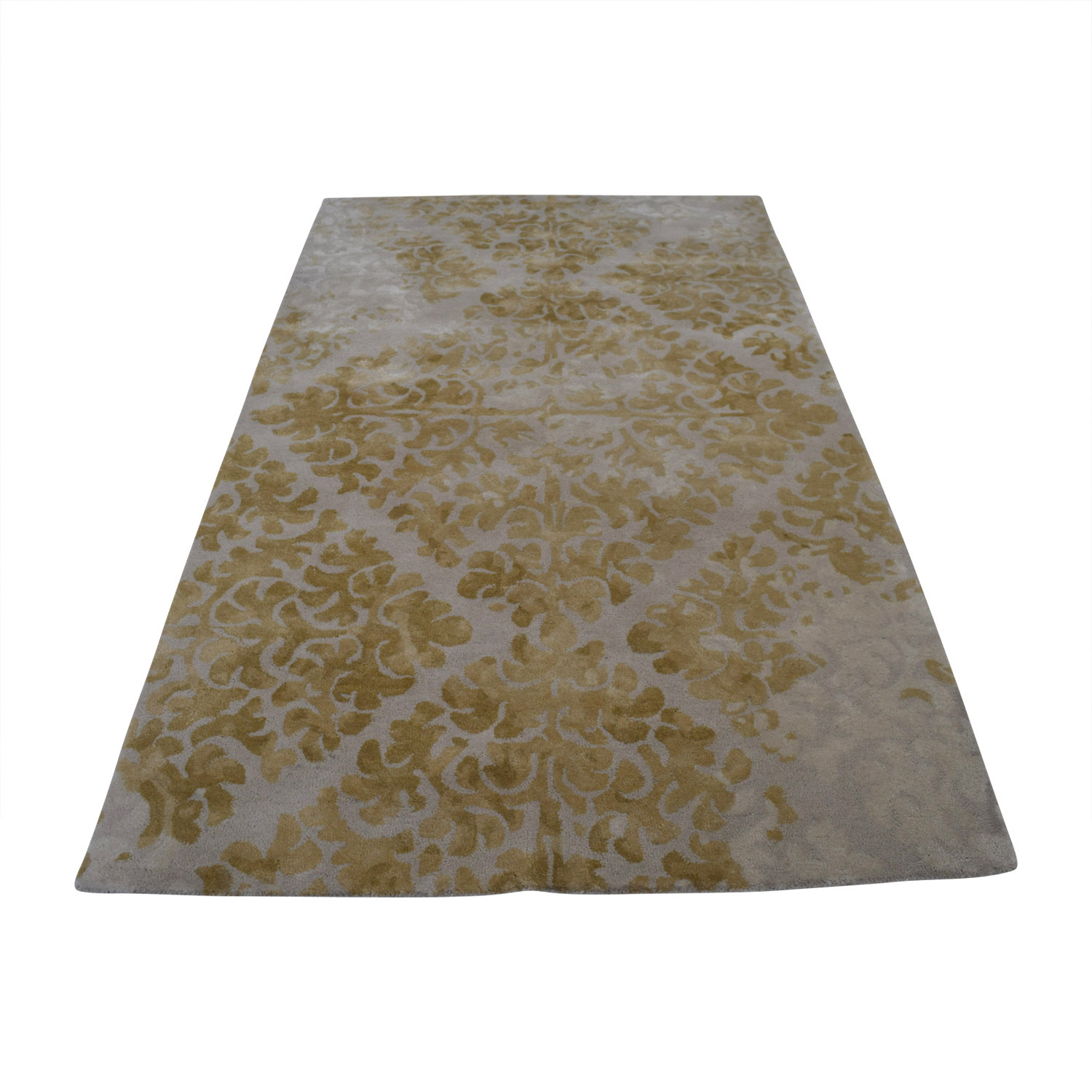 86 Off Obeetee Obeetee Yellow Floral Wool Rug Decor