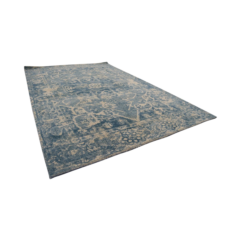 shop Obeetee Distressed Blue Wool Rug Obeetee