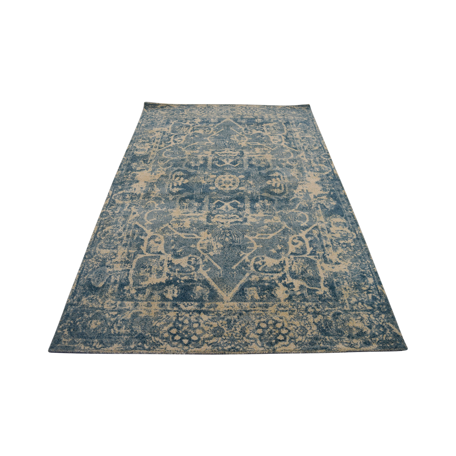 Obeetee Distressed Blue Wool Rug / Decor