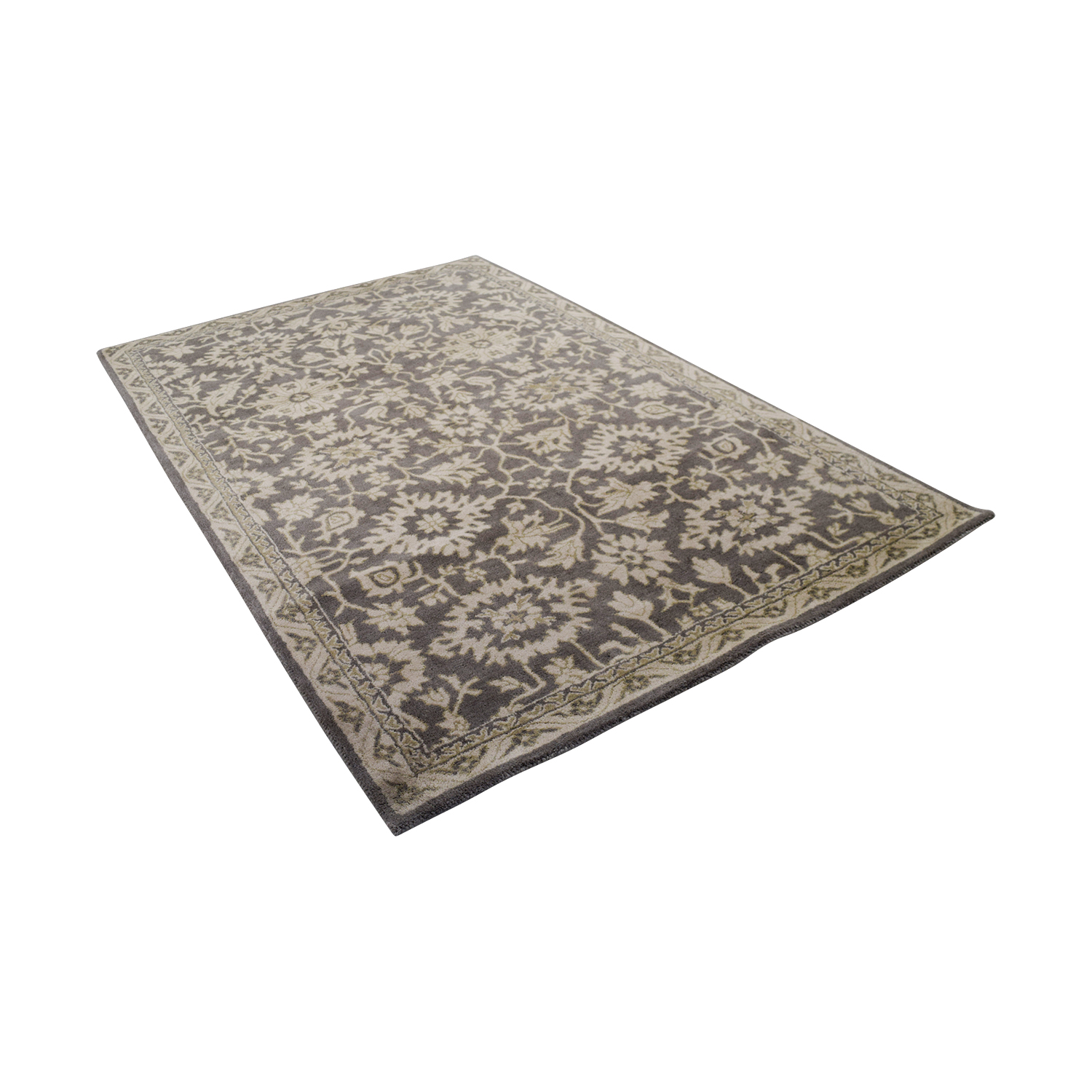 Obeetee Obeetee Floral Wool Rug Dark Grey/Light Grey