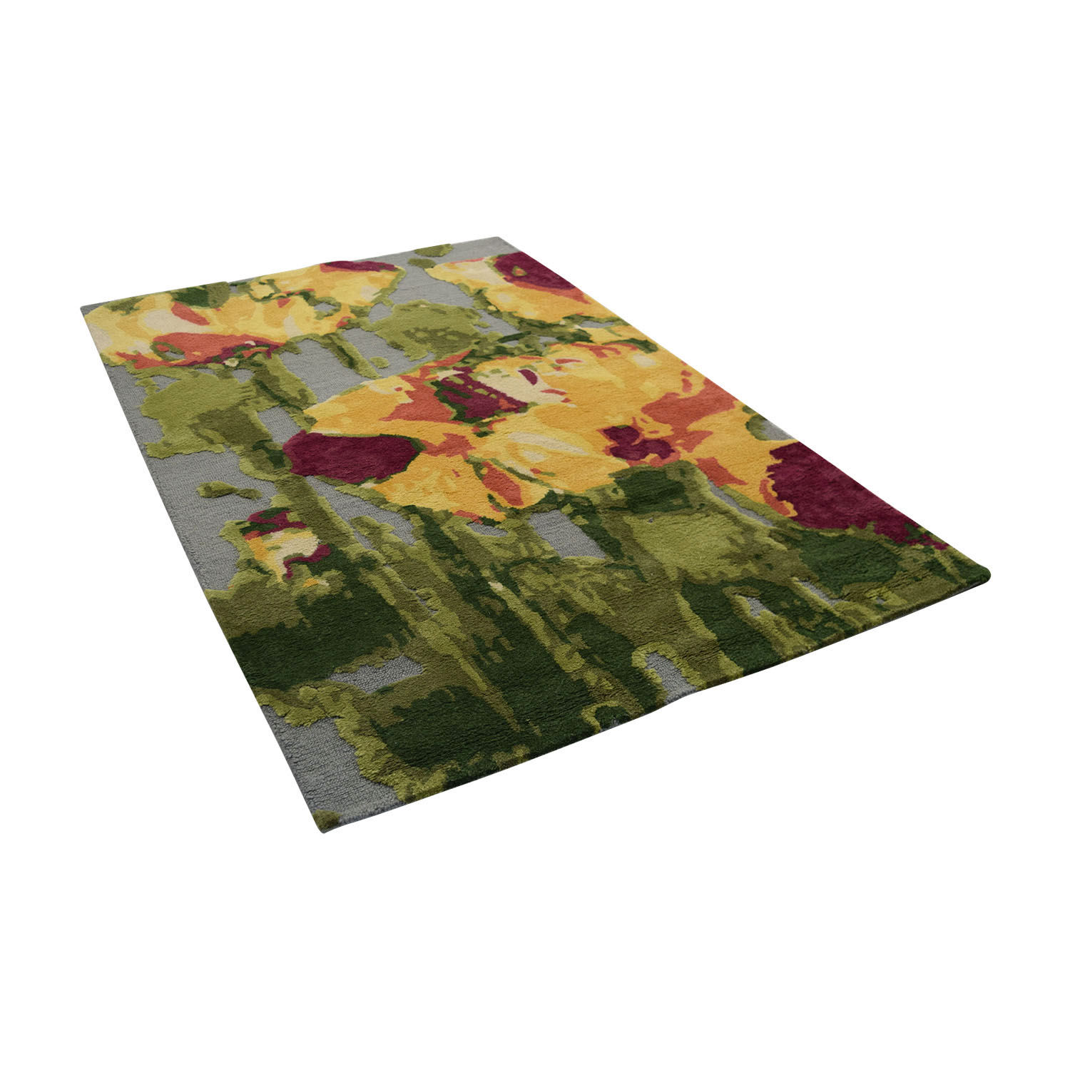 shop Obeetee 5 X 8 Orange Green Pink Yellow and Grey Wool Rug with High and Low Pile Obeetee