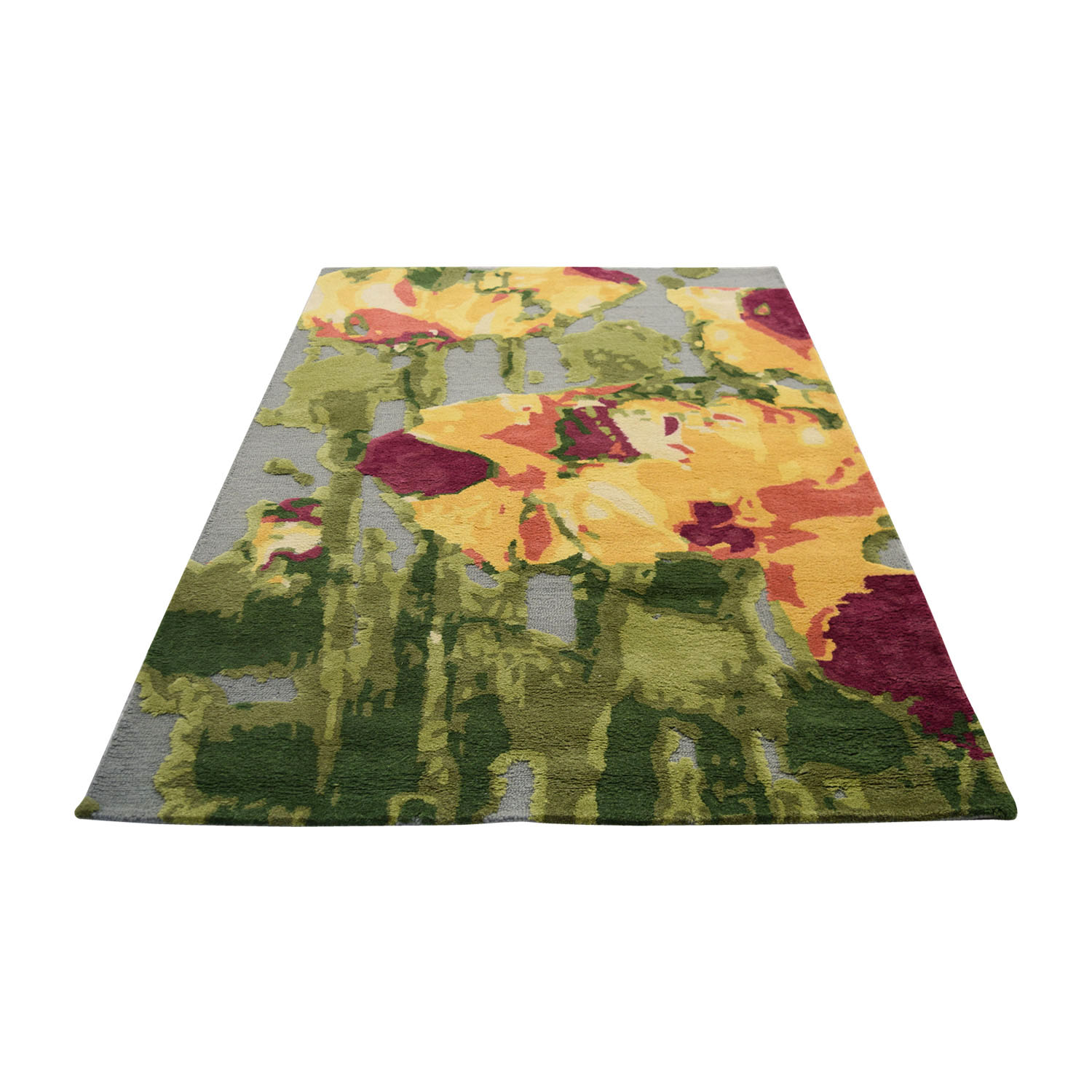 Obeetee Obeetee 5 X 8 Orange Green Pink Yellow and Grey Wool Rug with High and Low Pile dimensions