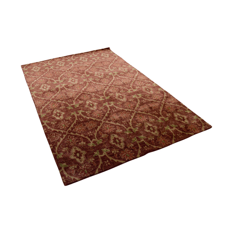 Obeetee Obeetee Red Beige Wool Rug used