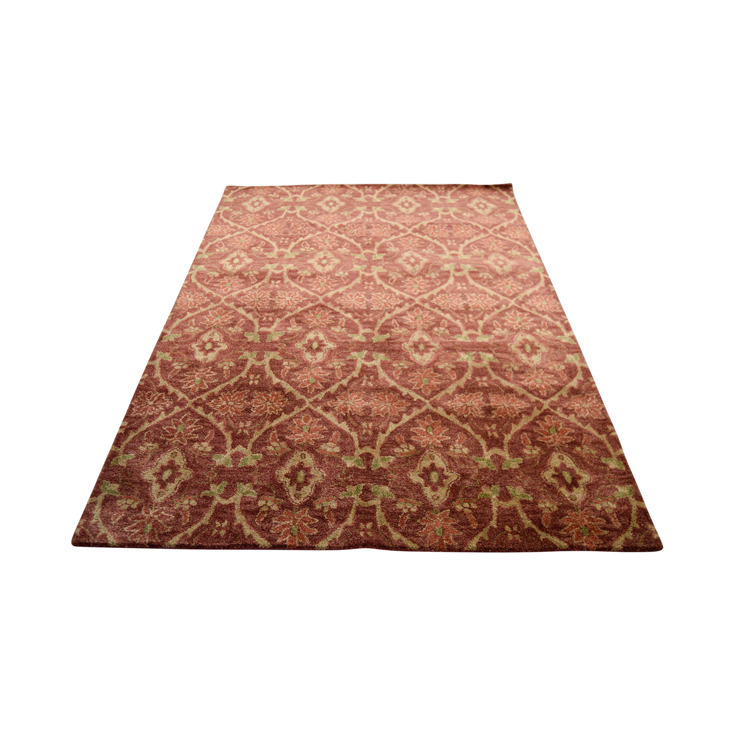 Obeetee Red Beige Wool Rug / Rugs