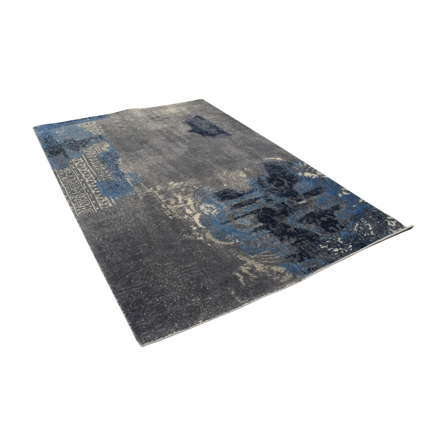 Obeetee Blue Grey Hand Tufted Wool Rug / Rugs