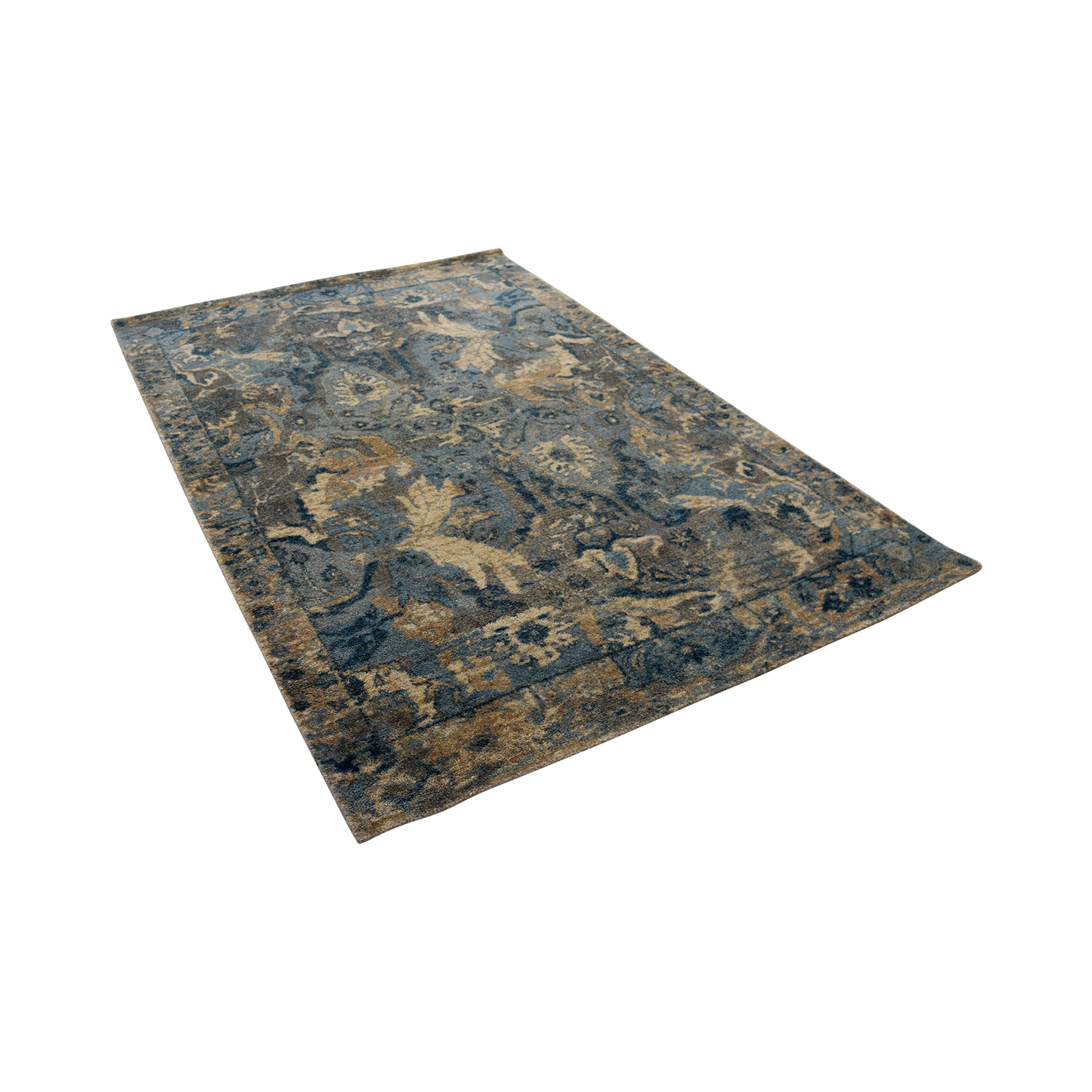 buy Obeetee Obeetee Blue Grey and Ivory Wool Rug online