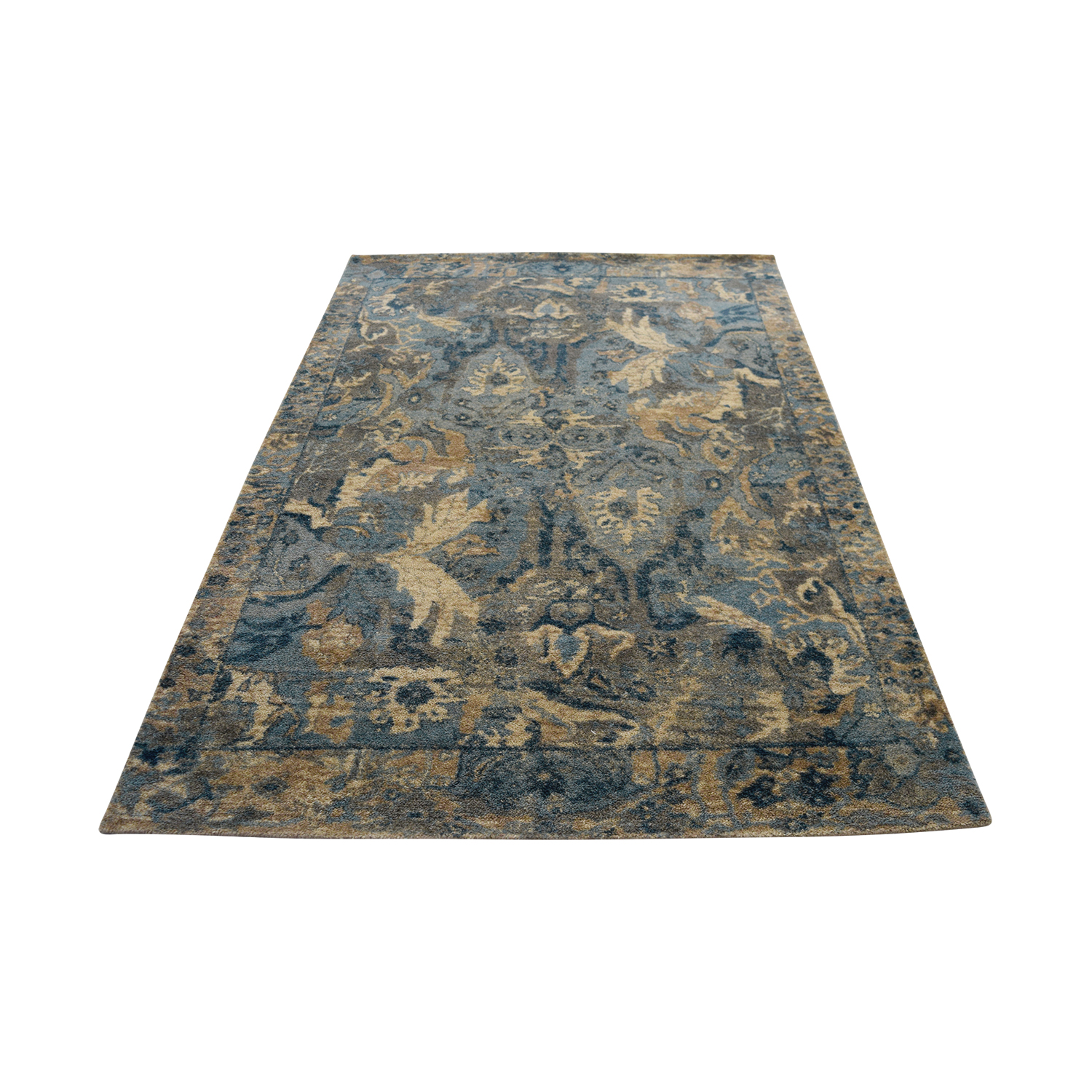 Obeetee Obeetee Blue Grey and Ivory Wool Rug used