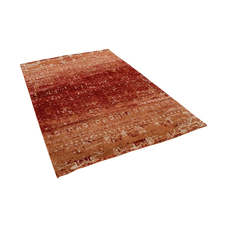 buy Obeetee Red and Beige Wool Rug Obeetee