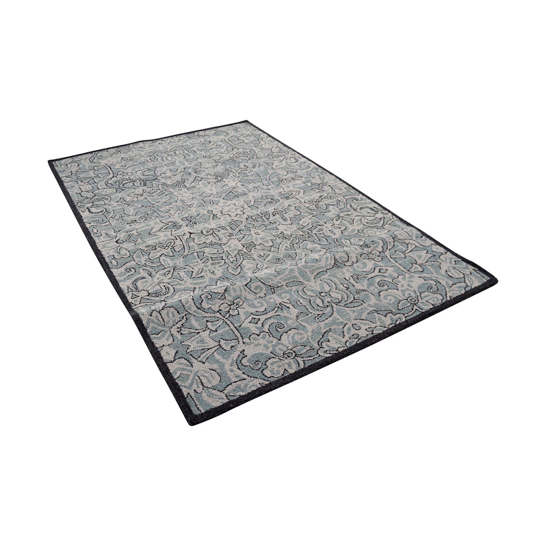 Obeetee Obeetee Blue Floral Wool Rug on sale