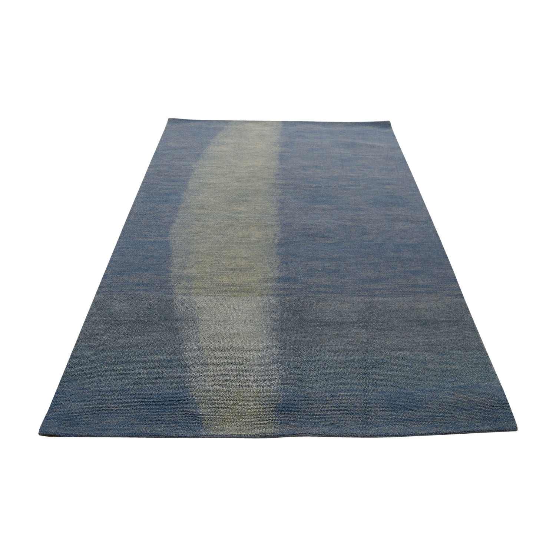 shop Obeetee Retro Blue Wool Rug Obeetee