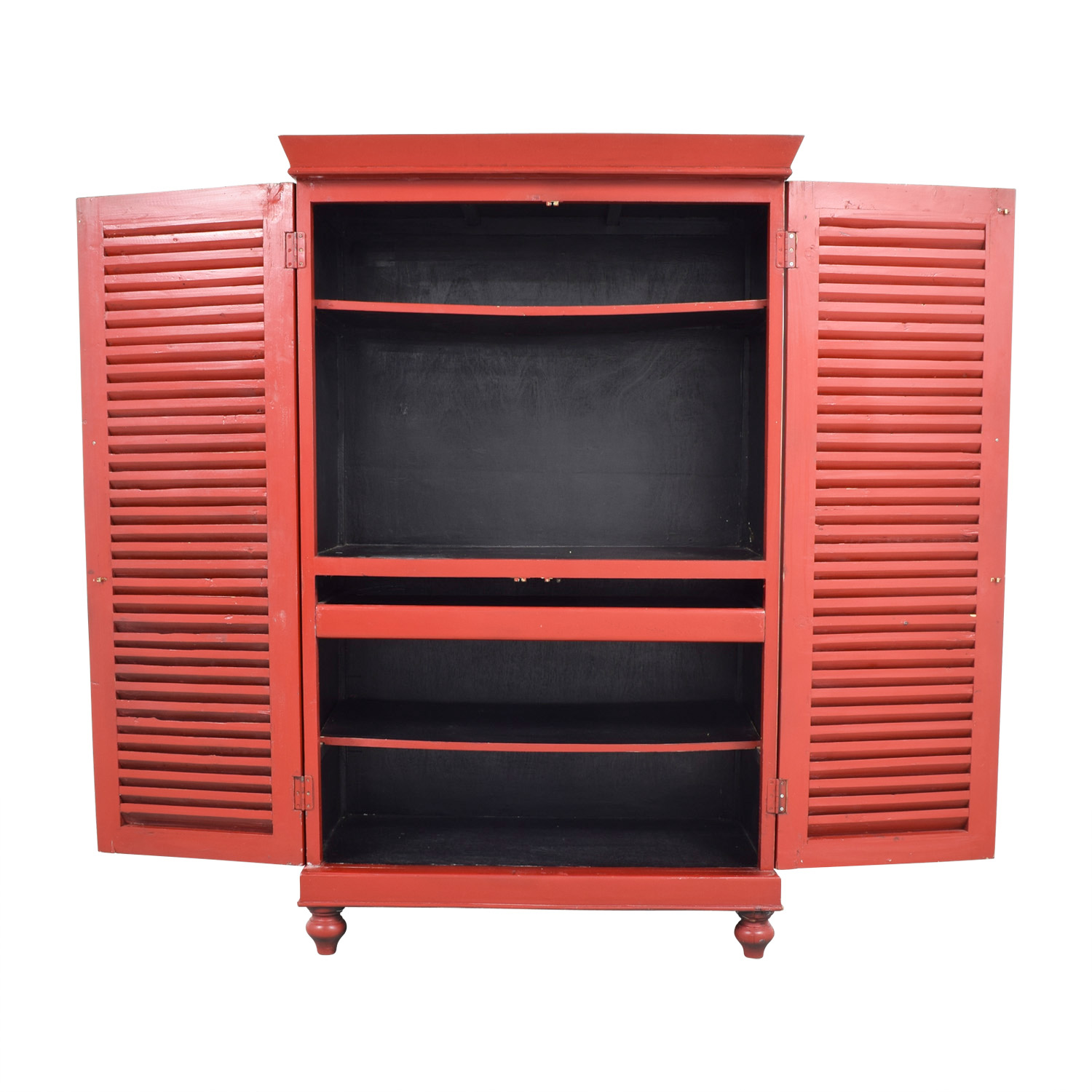 Red Armoire with Interior Shelving second hand