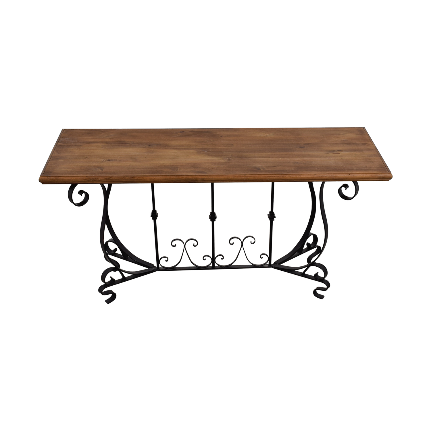 90 Off Black Iron Scroll Base And Rustic Wood Console Table Tables