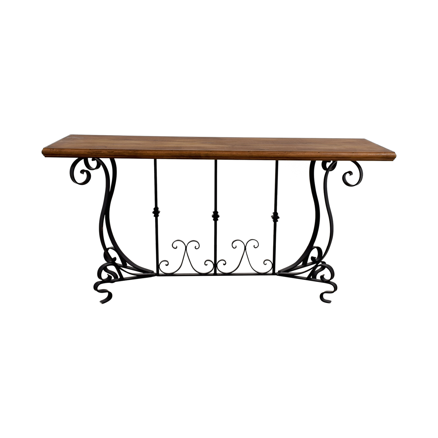 buy Black Iron Scroll Base and Rustic Wood Console Table Tables