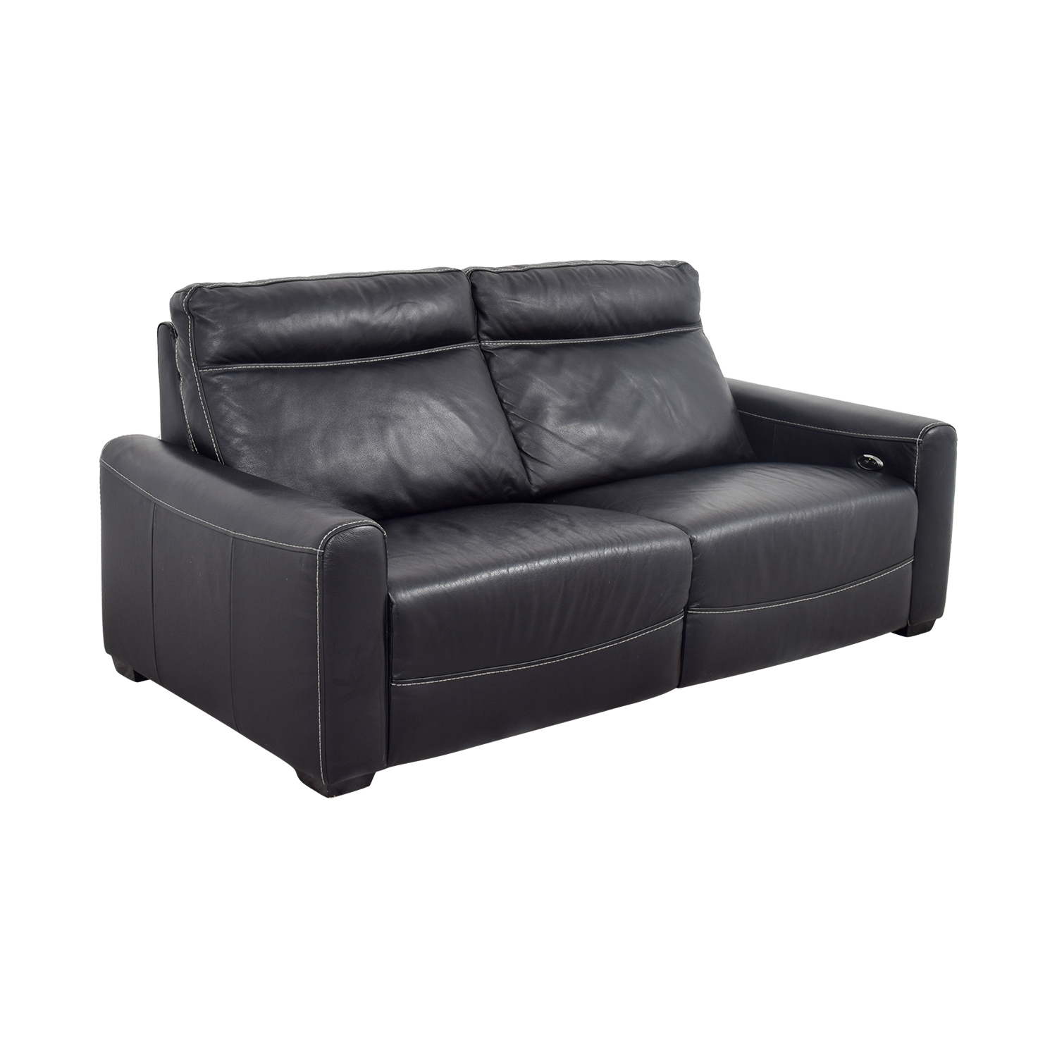 Macy's Macy's Black Leather Reclining Sofa / Sofas