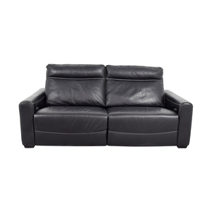 Macy's Macy's Black Leather Reclining Sofa on sale