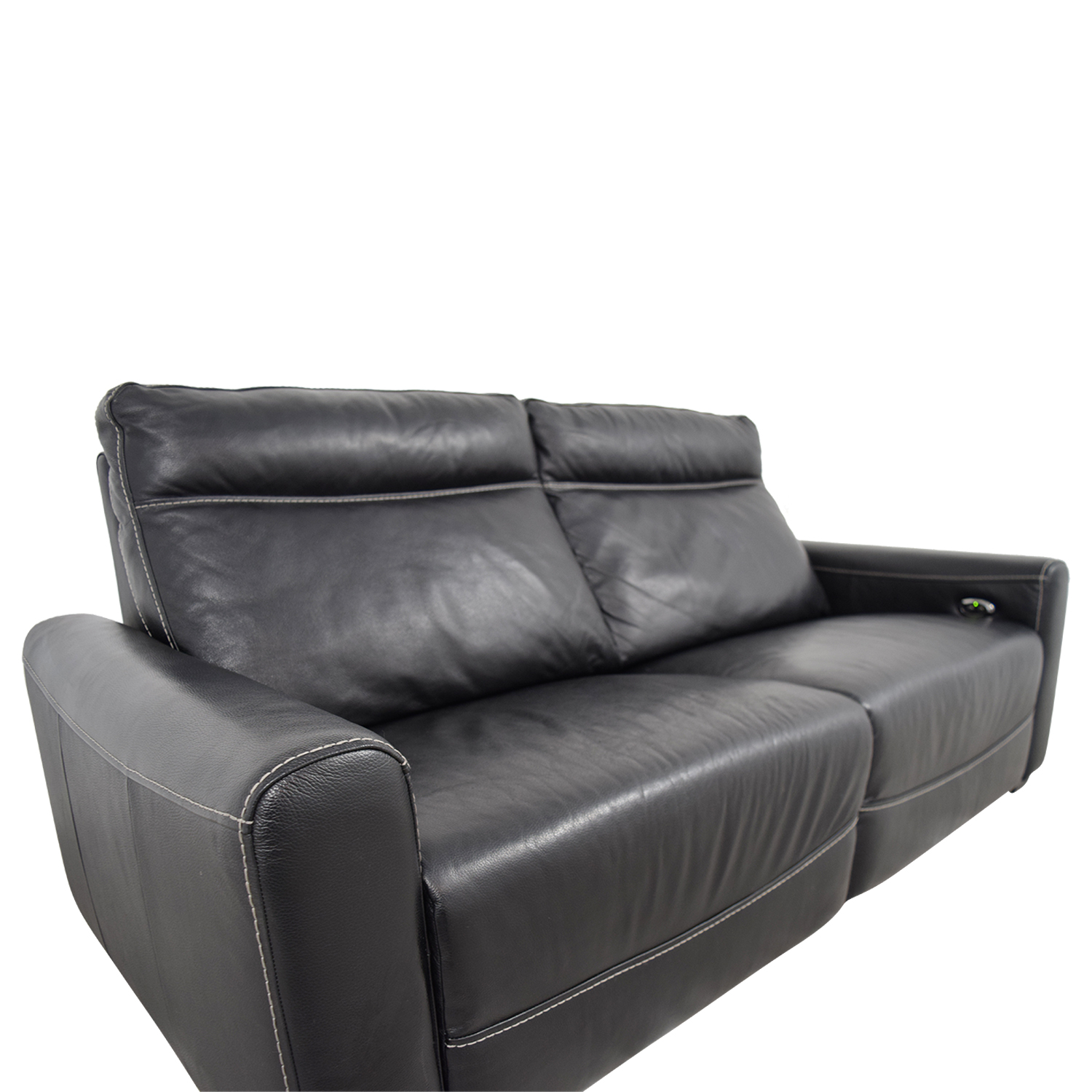 80% OFF - Macy\'s Macy\'s Black Leather Reclining Sofa / Sofas