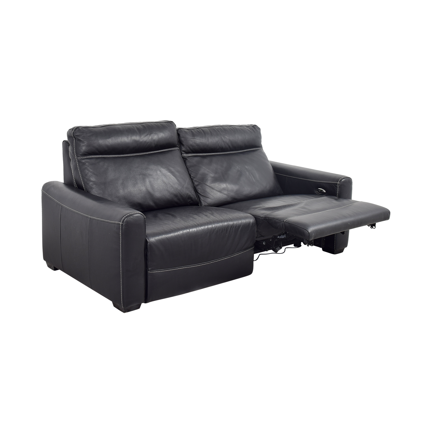 80 Off Macy S Macy S Black Leather Reclining Sofa Sofas